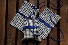Set of 3 cotton rustic gift bags. Small gift bag. Eco gift