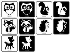Des pictogrammes contrastés spécialement pour les bébés. A faire en fiche ou bien à assembler pour former un livre accordéon.