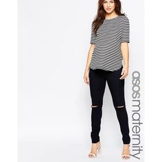 ASOS Maternity Ridley Skinny Jean In Indigo With Under The Bump... ($16) ❤ liked on Polyvore featuring maternity and indigo