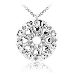 Rhodium plated alloy pendant with Swarovski crystals