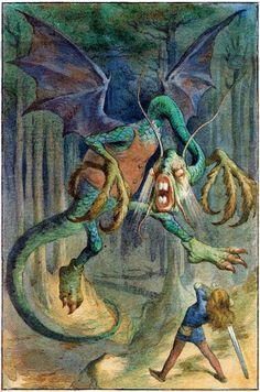 "Alice in Wonderland: John Tenniel illustration for Lewis Carroll's ""Jabberwocky"" Alicia Wonderland, Adventures In Wonderland, John Tenniel, Edmund Dulac, Lewis Carroll, Dragons, Doodle, Inspiration Artistique, Go Ask Alice"