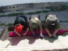 A Felt Shyrdak rug is prepared by three women feltrugs.co.uk