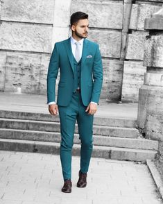 Premium skinny fit wool suit with vest. Pieces Men, Suit Jacket, Vest, Wool Suit, Skinny Fit, Mens Suits, Smoking, Fitness, Jackets