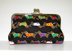 CLUTCH PURSE Dachshunds in Sweaters @Amanda Snelson Snelson Snelson Miles are you following this pinned yet??