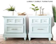 These matching nightstands had potential, but were in desperate need of an update. Megan from Lubbly Jubbly Furniture gave them just what they needed with… My Furniture, Refurbished Furniture, Furniture Makeover, Painted Furniture, Furniture Design, Blue Nightstands, Painted End Tables, Painted Night Stands, Furniture Restoration