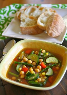 This summer soup make with chickpeas and fresh summer vegetables is perfect on a summer day.