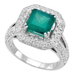 18K White Gold 2.17ct Diamond Emerald Ladies Ring $5,220.00