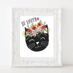 Be Happy Cat digital printable Wall art Inspirational quote print Home decor Floral Flowers Black Cat lover poster Pet art instant download by SansSouciPrintables on Etsy
