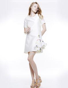 MIKADO SILK + ORGANZA GODET ZIP DRESS, Colección primavera-verano 15