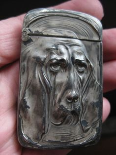 Rare Antique Unger Brothers Bloodhound Sterling Silver 925 Vesta Match Case Safe