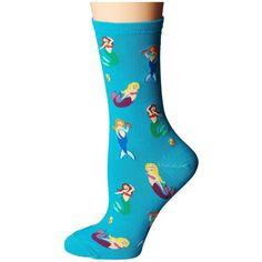 Socksmith Mermaids (Blue Lagoon) Women's Crew Cut Socks (14 NZD) ❤ liked on Polyvore featuring intimates, hosiery, socks, blue crew socks, crew socks, cotton crew socks, pocket socks and blue socks
