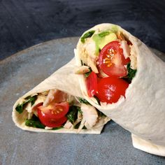 Great lunch idea - Chef Michael Smith's Rotisserie Chicken Wrap with Avocado, Tomatoes, and Basil. Healthy and delicious. Budget Freezer Meals, Frugal Meals, Easy Meals, Weeknight Meals, Chicken Avocado Wrap, Chicken Wraps, Chef Michael Smith, Planning Budget, Menu Planning