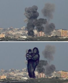 Palestinian Artists Transform Photographs Of Rocket Explosions Into Powerful Human Images