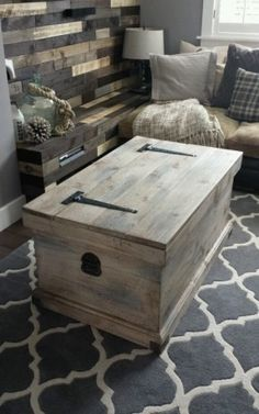 Handmade Coastal Vintage Shabby Chic Trunk Chest Coffee Table