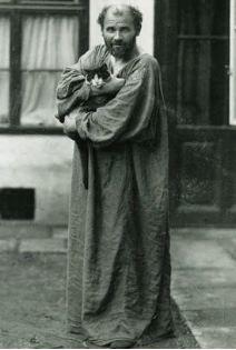 Gustav Klimt in his studio garden. Circa 1912-14