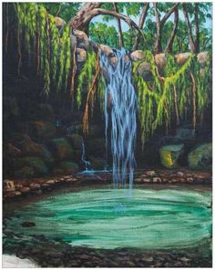 how to paint waterfall acrylic