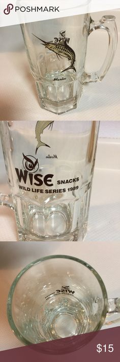 """A Marlin Beer Stein Glass A 1989 WISE Wild Life Series Snacks.                   On one side shows a """" MARLIN"""" word & picture; the opposite side has wording and the logo for WISE.                                                          This Stein was gifted to me in August in 1989; I don't drink beer, used it for other means!             All my items come from a Smoke Free & Cat Free HOME.                                                             Any questions don't hesitate to ask Other"""