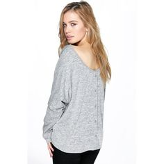 Boohoo Petite Petite Isobel Button Back Oversized Jumper ($26) ❤ liked on Polyvore featuring tops, sweaters, grey, wrap sweater, petite tops, nordic sweater, knit sweater and chunky turtleneck sweater