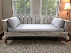 "Porch Swing: The ""Rivertowne"" Twin-Size Swing Bed w/ Straight Back (Free Shipping) by LowcountrySwingBeds on Etsy"