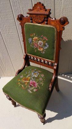 Exquisite Antique Victorian Eastlake Walnut Needlepoint Chair Lovely   eBay