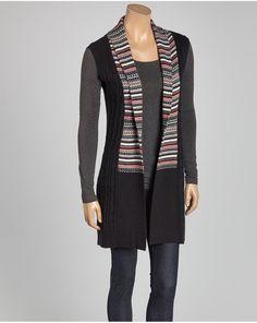 43d5c9424 Uma Tyler Cashmere Blend Long Cardigan Sweater Vest Black Cardigan