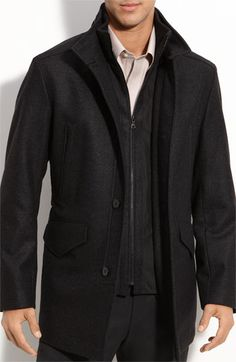 BOSS Black Wool Blend City Coat with Removable Shell   Nordstrom