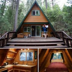 An A-frame house is simple, some what conservatory actually still it's also unforgettable and intriguing. Also, you can customize it and arrive up with your version for your dream house. Tyni House, Tiny House Cabin, Cabin Homes, A Frame Cabin, A Frame House, Style At Home, Shed Plans, House Plans, Prefabricated Houses