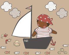 Vinilo pirata - Vinilo de recorte. Piezas que componen la colección: Pirata, barco vela, 10 peces, 2 gambas, 1 pulpo, 3 caracolas y 1 ancla. Si quieres algún cambio contacta con Stencil Barcelona.