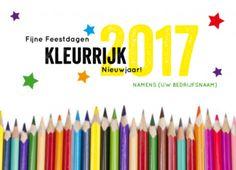 Zakelijke nieuwjaarskaart met kleurpotloden, voor een kleurrijk nieuwjaar. Ideaal om uw zakelijke relaties in de onderwijssector een goed 2016 te wensen.