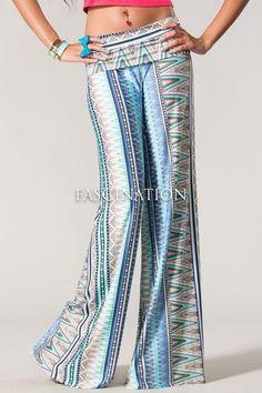 Sexy Fold Over Waist Flared Wide Blue Muilt Pattern Yoga Palazzo Pants