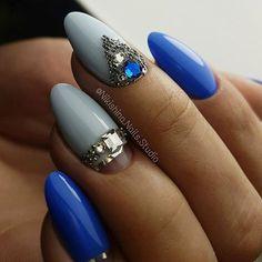 Blue - Rhinestone Nail Art