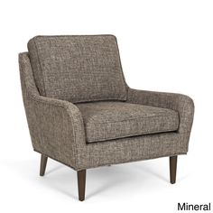 Arcadia Mid-century Upholstered Rubberwood Arm Chair (Mineral Brown Grey) (Fabric)