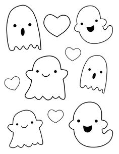 Kawaii Ghost Outlines