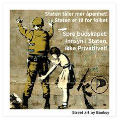 Staten er til for folkets skyld, ikke omvendt! Banksy, Folk, Baseball Cards, Sports, Movies, Movie Posters, Art, Hs Sports, Art Background