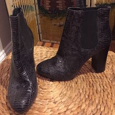 """JUICY COUTURE GENUINE SNAKESKIN BOOTIE Black & Charcoal.  Elastic insets. 3 1/2"""" inch Chunky Heels. Worn twice. Excellent Condition. Juicy Couture Shoes Ankle Boots & Booties"""