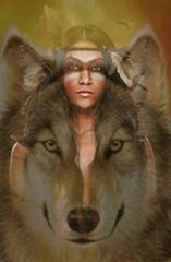 Wolves and Women--Christina Pettry Native American Wolf, Native American Paintings, Native American Wisdom, Native American Pictures, Native American Beauty, American Indian Art, Native American History, American Indians, Wolves And Women