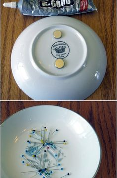Add magnets to the bottom of a pretty bowl with super strong epoxy. Keep your pins in order as you sew!