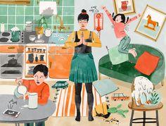 Bodil Jane | Folio illustration agency | https://folioart.co.uk/bodil-jane | #watercolour #illustration #interior #family