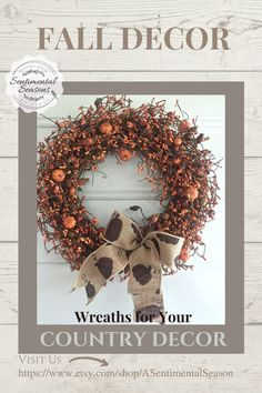 Decorate your home this season with a simple berry and faux pumpkin wreath.  Wreaths like this one are a quick and easy way to add color to your fall decor.  Take a look at the burlap ribbon!  The pumpkins on the ribbon are adorable! Fall Decorating, Decorating Your Home, Country Decor, Farmhouse Decor, Fall Entryway Decor, Faux Pumpkins, Pumpkin Wreath, Burlap Ribbon, Table Centerpieces