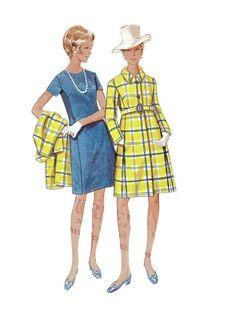 Butterick Retro 60s Sewing Pattern 5010 Basic Sheath Dress High Fashion Coat Full Figure Plus Size Bust 38 by AdeleBeeAnnPatterns on Etsy