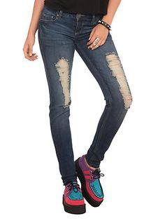 Medium Indigo Wash Destroyed Skinny Jeans,
