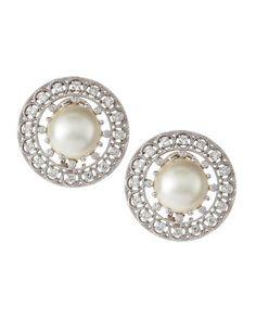 Diamond Mabe Pearl Earrings