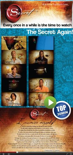 Every once in a while is the time to watch the Secret by Rhonda Byrne again. Law of attraction and love. Gratitude quotes and ideas, law of attraction money, money quotes, Bob Proctor, Abraham Hicks. Something for the soul  Watch it here in Top30min