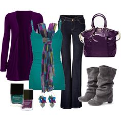 A fashion look from October 2012 featuring purple cardigan, flare jeans and Full Tilt. Browse and shop related looks. Style Work, Mode Style, Mode Outfits, Casual Outfits, Fashion Outfits, Fall Winter Outfits, Winter Fashion, Fashion Mode, Womens Fashion