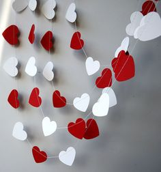 MA Red white heart garland Wedding decoration Heart garland Red white garland Bridal shower decor Paper garland by TransparentEsDecor Valentinstag Party, White Garland, Heart Garland, Valentines Day Hearts, Valentine Day Crafts, Bridal Shower Decorations, Wedding Decorations, Diy And Crafts, Crafts For Kids