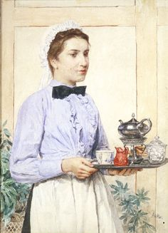 """Maid Holding a Tea Tray"" (Date unknown), by Swiss artist - Albert Anker (1831-1910), Watercolor, Dimensions unknown, Owner/Location unknown."