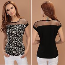 Cheap women blouses, Buy Quality women blouse fashion directly from China women fashion blouse Suppliers: Summer Lady Leopard Sheer Fashion Shirt Crew Neck Short Sleeve Slim Women Blouse Tops Black Chiffon Blouse, Sheer Chiffon, Lace Sleeves, Shirt Blouses, Blouses For Women, Ideias Fashion, Couture, Clothes, Crew Neck