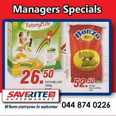 More fantastic specials from Saverite Supermarket York Street. Don't forget to join us at 12h30 today to watch our first trolley run in the store. #Special #supermarket #groceries