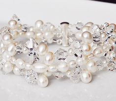 Wedding Bracelet Swarovski Crystal and Pearl Wedding