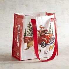 Winter's Wonder Dogs with Truck Reusable Gift Bag Christmas Bags, Christmas Gift Wrapping, Christmas 2017, Christmas Party Decorations, Winter Wonder, Holiday Sales, Beautiful Christmas, Truck, Dogs